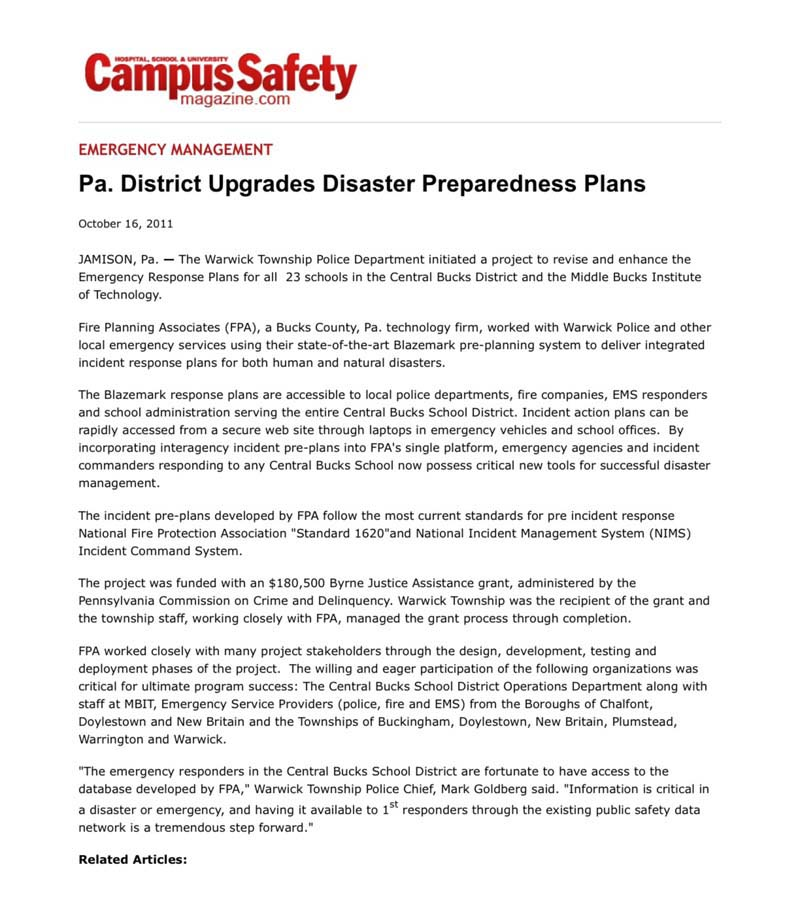 Campus Safety - Pa. District Upgrades Disaster Preparedness Plans