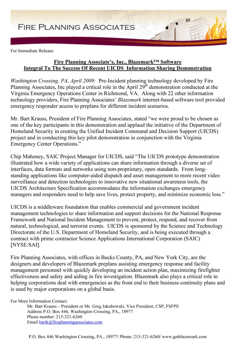 For Immediate Release: Fire Planning Associates, Inc., Blazemark Software Integral to the Success of Recent UICDS Information Sharing Demonstration
