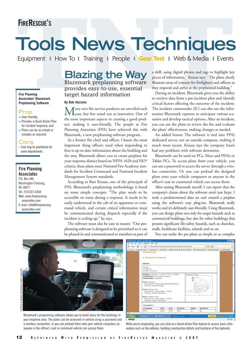 Fire Rescue's Tools News Techniques - Blazing the way - Blazemark preplanning software provides easy-to-use, essential target hazard information